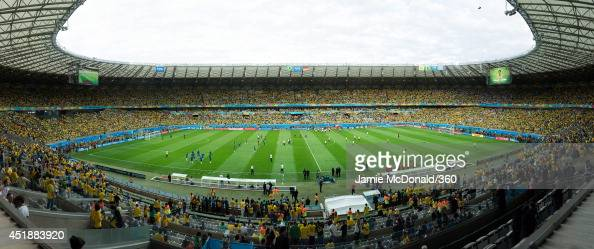 A general view of the stadium during the 2014 FIFA World Cup Brazil Semi Final match between Brazil and Germany at Estadio Mineirao on July 8 2014 in...