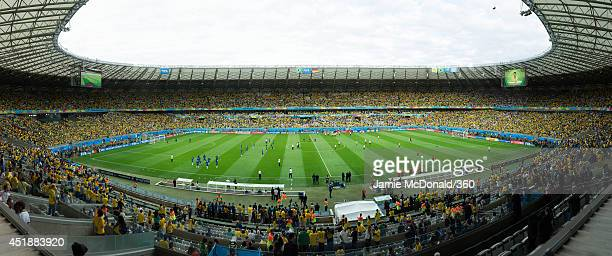 A general view of the stadium during the 2014 FIFA World Cup Brazil Semi Final match between Brazil and Germany at Estadio Mineirao on July 8, 2014 in Belo Horizonte, Brazil.