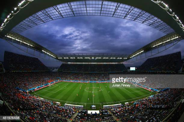 A general view of the stadium during the 2014 FIFA World Cup Brazil Semi Final match between the Netherlands and Argentina at Arena de Sao Paulo on...