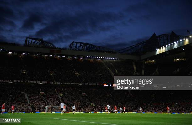 A general view of the stadium during the Barclays Premier League match between Manchester United and Tottenham Hotspur at Old Trafford on October 30...
