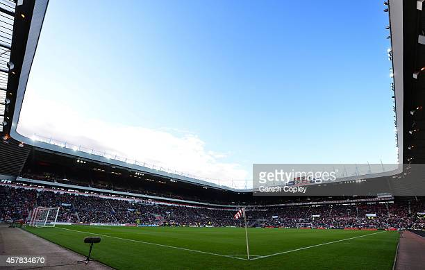 A general view of the stadium during the Barclays Premier League match between Sunderland and Arsenal at the Stadium of Light on October 25 2014 in...