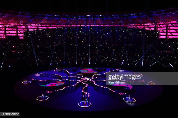 A general view of the stadium during the Closing Ceremony for the Baku 2015 European Games at Olympic Stadium on June 28 2015 in Baku Azerbaijan