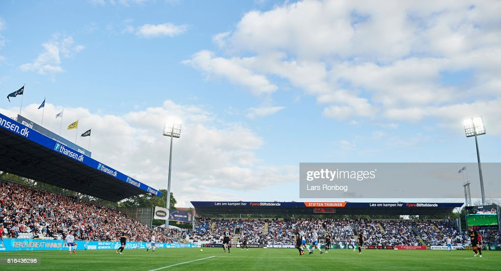General view of the stadium during the Danish Alka Superliga match between OB Odense and FC Nordsjalland at EWII Park on July 17, 2017 in Odense, Denmark.
