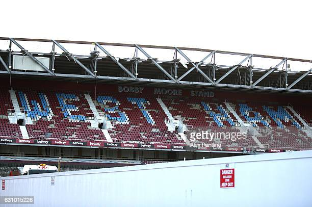 A general view of the stadium during the demolition of West Ham's Boleyn Ground on January 5 2017 in London England Local businesses are suffering as...