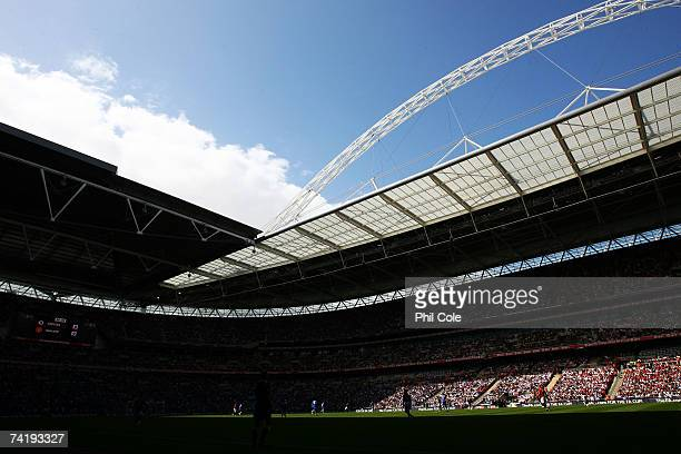 A general view of the stadium during the FA Cup Final match sponsored by EON between Manchester United and Chelsea at Wembley Stadium on May 19 2007...