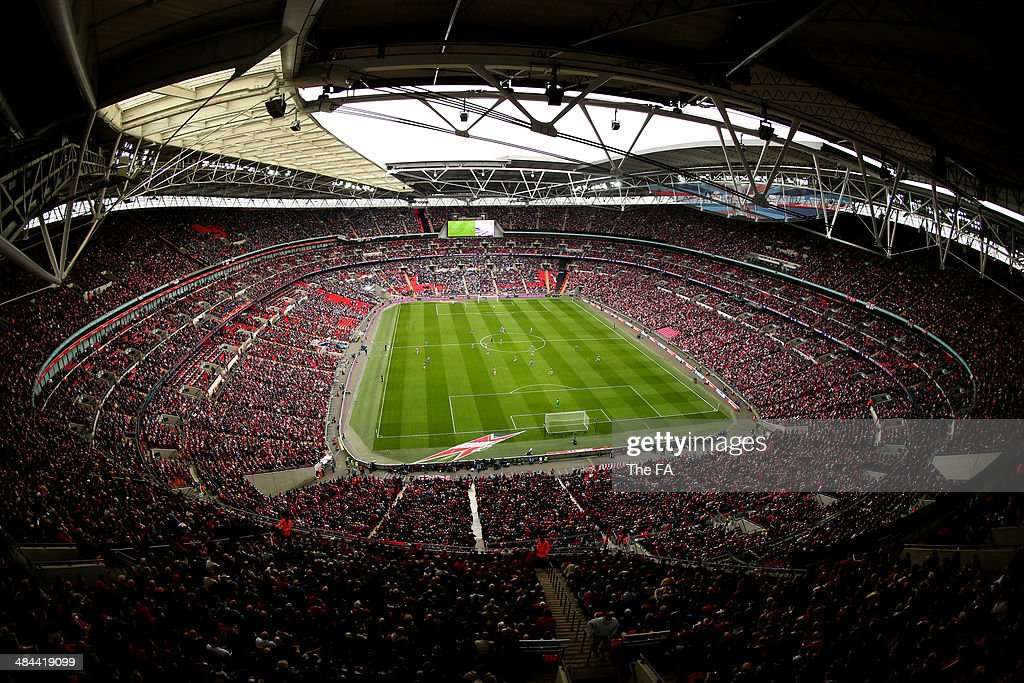 A general view of the stadium during the FA Cup Semi-Final match between Wigan Athletic and Arsenal at Wembley Stadium on April 12, 2014 in London, England.