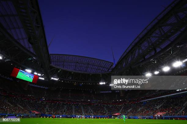 A general view of the stadium during the FIFA Confederations Cup Russia 2017 Final match between Chile and Germany at Saint Petersburg Stadium on...