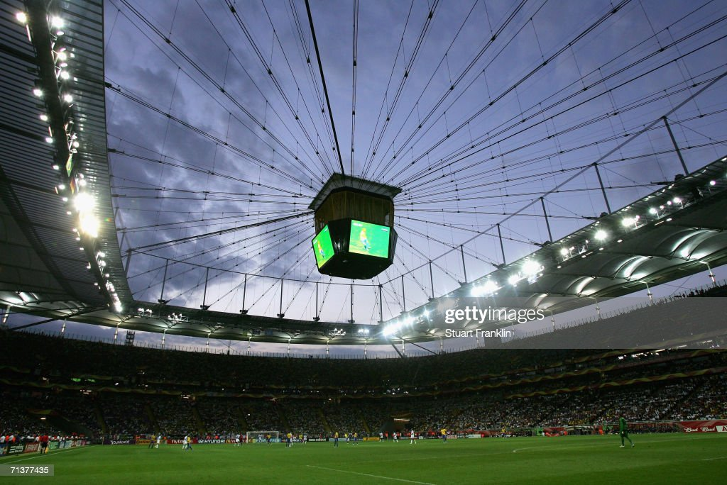 A general view of the stadium during the FIFA World Cup Germany 2006 Quarterfinal match between Brazil and France at the Stadium Frankfurt on July 1...
