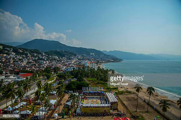 A general view of the stadium during the finals of FIVB Puerto Vallarta Open at Camarones Beach on October 11 2015 in Puerto Vallarta Mexico