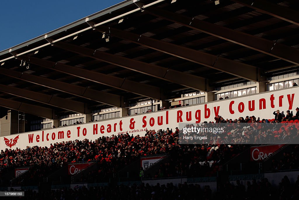 A general view of the stadium during the Heineken Cup match between Scarlets and Exeter Chiefs at Parc y Scarlets on December 8, 2012 in Llanelli, Wales.