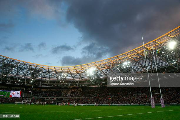 A general view of the stadium during the International Rugby League Test Series match between England and New Zealand at the Olympic Stadium on...