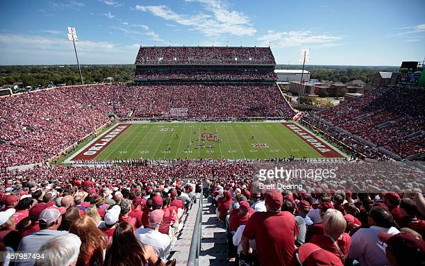 A general view of the stadium during the Oklahoma Sooners and Kansas State Wildcats game October 18 2014 at Gaylord FamilyOklahoma Memorial Stadium...
