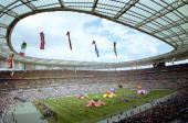 General view of the stadium during the opening ceremony festivities for the1998 FIFA World Cup Finals on 10 June 1998 played at the Stade de France...