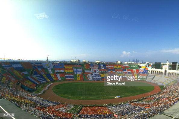 TODAY's OPENING CEREMONY OF THE 1984 SUMMER OLYMPICS THE CEREMONY TOOK PLACE AT THE COLISEUM IN LOS ANGELES CALIFORNIA UNITED STATES Mandatory Credit...