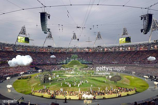 General view of the stadium during the Opening Ceremony of the London 2012 Olympic Games at the Olympic Stadium on July 27 2012 in London England