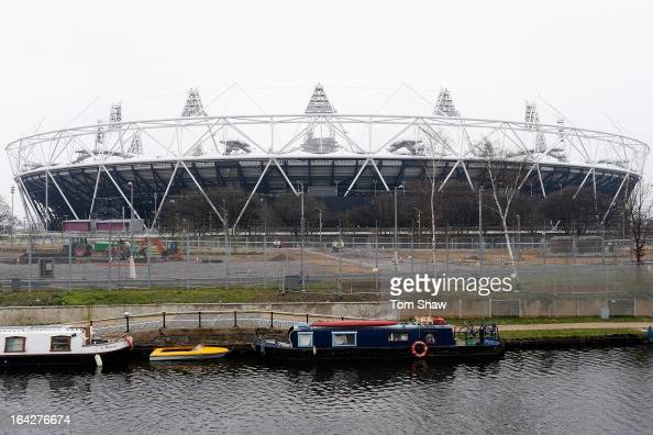 A general view of the stadium during the press conference to announce the future of the Olympic Stadium on March 22 2013 in London England West Ham...