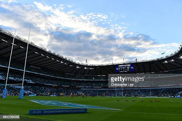 A general view of the stadium during the QBE International match between England and France at Twickenham Stadium on August 15 2015 in London England