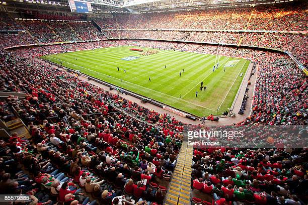 A general view of the stadium during the RBS 6 Nations Championship match between Wales and Ireland at the Millennium Stadium on March 21 2009 in...