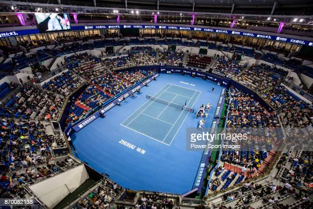 A general view of the stadium during the singles semi final match of the WTA Elite Trophy Zhuhai 2017 between Julia Goerges of Germany and Anastasija...