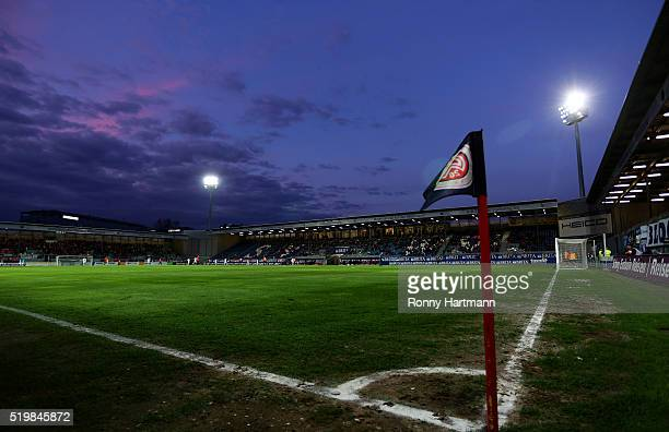 General view of the stadium during the Third League match between SV Wehen Wiesbaden and 1 FC Magdeburg at BRITAArena on April 8 2016 in Wiesbaden...
