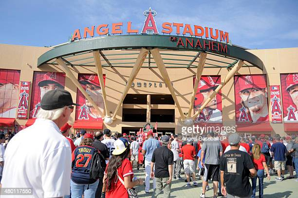 A general view of the stadium exterior facade as fans enter before the game between the New York Yankees and the Los Angeles Angels of Anaheim at...