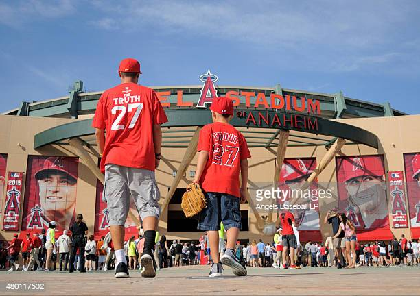 A general view of the stadium exterior facade as fans enter wearing Mike Trout shirts before the game between the New York Yankees and the Los...