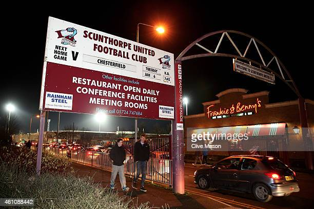 A general view of the stadium exterior prior to kickoff during the FA Cup Third Round match between Scunthorpe United and Chesterfield FC at Glanford...