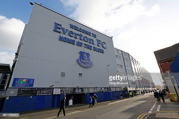 A general view of the stadium exterior prior to kickoff during the Barclays Premier League match between Everton and Manchester City at Goodison Park...