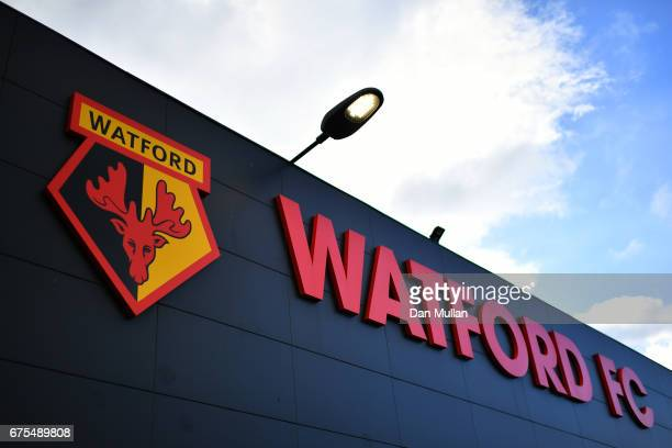 A general view of the stadium exterior prior to kickoff during the Premier League match between Watford and Liverpool at Vicarage Road on May 1 2017...