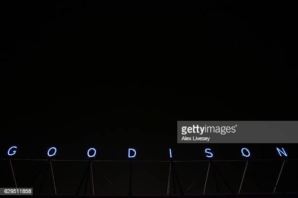 A general view of the stadium exterior prior to the Premier League match between Everton and Arsenal at Goodison Park on December 13 2016 in...