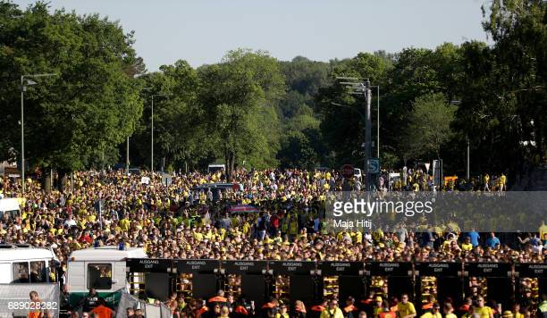 A general view of the stadium forecourt is seen seen prior to the DFB Cup Final 2017 between Eintracht Frankfurt and Borussia Dortmund at...