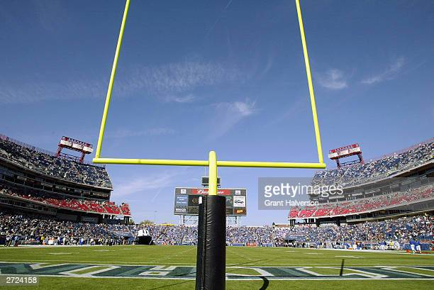 A general view of the stadium from behind the field goal post before the game between the Miami Dolphins and the Tennessee Titans on November 9 2003...