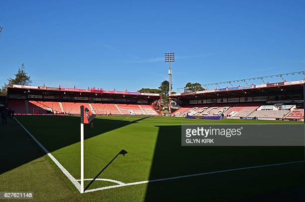 General view of the stadium from pitchside ahead of the English Premier League football match between Bournemouth and Liverpool at the Vitality...
