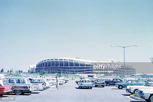 A general view of the stadium from the parking lot prior to the Major League Baseball AllStar Game on July 10 1962 at DC Stadium in Washington DC...