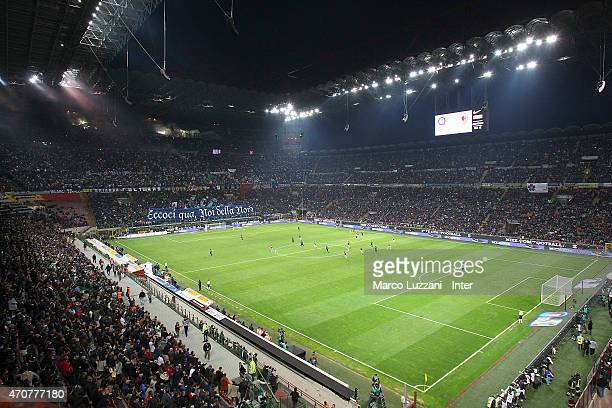A general view of the stadium Giuseppe Meazza ahead of the Serie A match between FC Internazionale Milano and AC Milan at Stadio Giuseppe Meazza on...