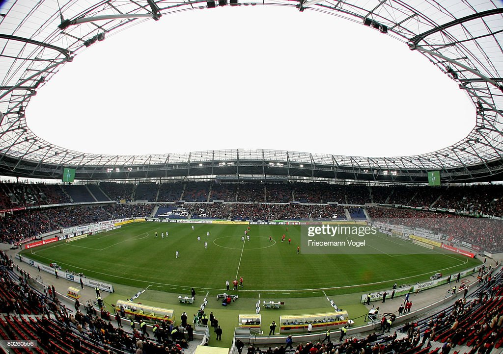 A general view of the stadium is seen during the Bundesliga match between Hannover 96 and Arminia Bielefeld at the AWD Arena on March 15 2008 in...