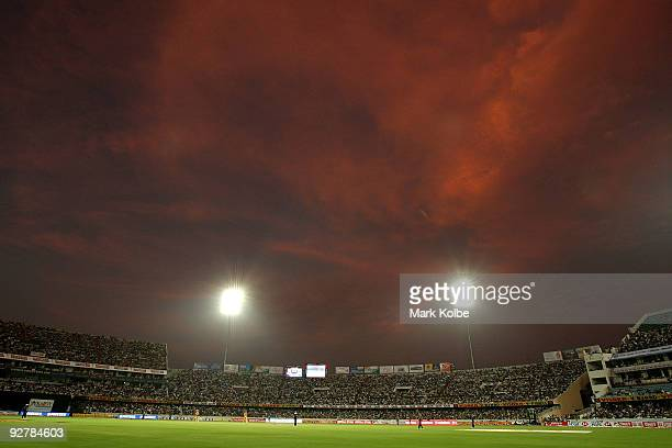 A general view of the stadium is seen during the fifth One Day International match between India and Australia at Rajiv Gandhi International Cricket...