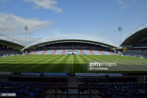 A general view of the stadium is seen prior to the English Premier League football match between Huddersfield Town and Newcastle United at the John...
