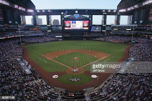 A general view of the stadium is shown during the first pitch of the Los Angeles Dodgers game against the Arizona Diamondbacks at Chase Field on...
