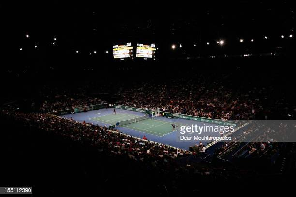 A general view of the stadium of JoWilfried Tsonga of France in action against Nicolas Almagro of Spain during day 4 of the BNP Paribas Masters at...