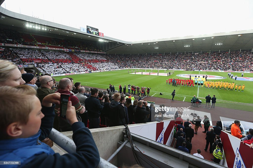 General view of the Stadium Of Light as the teams line up prior to the International Friendly match between England and Australia at Stadium of Light on May 27, 2016 in Sunderland, England.
