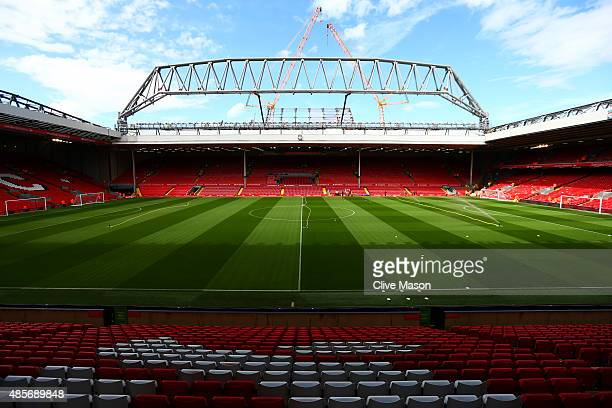 A general view of the stadium prior the Barclays Premier League match between Liverpool and West Ham United at Anfield on August 29 2015 in Liverpool...