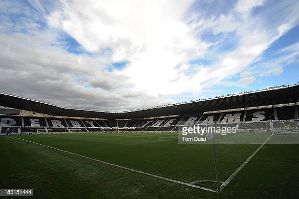 General view of the stadium prior the Sky Bet Championship match between Derby County and Leeds United at Pride Park Stadium on October 05 2013 in...