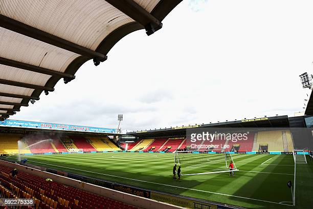 General View of the stadium prior to kick off during the Premier League match between Watford and Chelsea at Vicarage Road on August 20 2016 in...