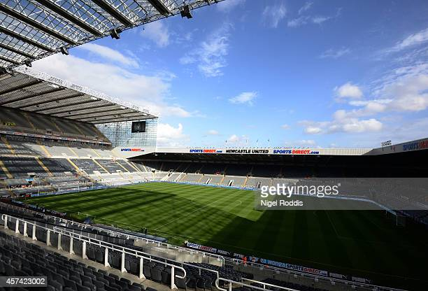 A general view of the stadium prior to kickoff during the Barclays Premier League match between Newcastle United and Leicester City at St James' Park...