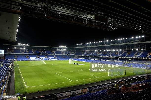 A general view of the stadium prior to kickoff during the Barclays Premier League match between Everton and Hull City at Goodison Park on December 3...
