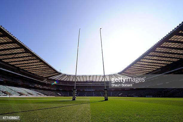 A general view of the Stadium prior to kickoff during the RBS Six Nations match between England and Wales at Twickenham Stadium on March 9 2014 in...