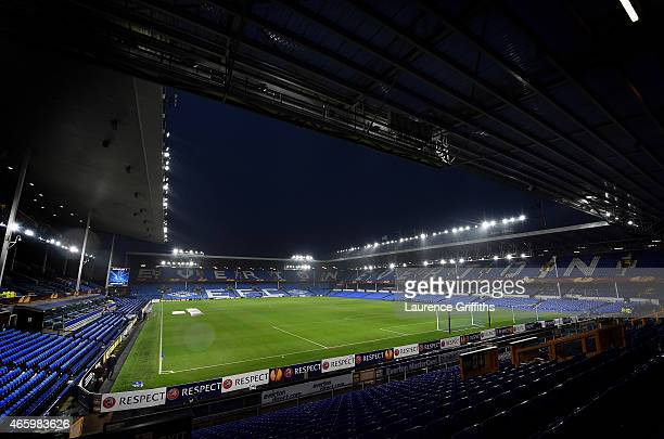 A general view of the stadium prior to kickoff during the UEFA Europa League Round of 16 first leg match between Everton and FC Dynamo Kyiv at...