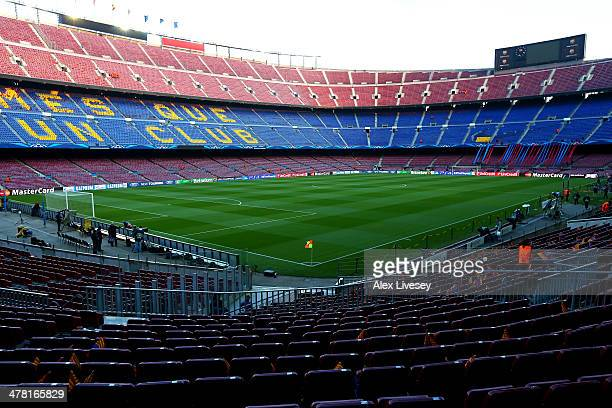 A general view of the stadium prior to kickoff during the UEFA Champions League Round of 16 match between FC Barcelona and Manchester City at Camp...