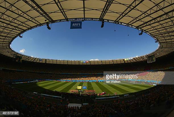 A general view of the stadium prior to the 2014 FIFA World Cup Brazil round of 16 match between Brazil and Chile at Estadio Mineirao on June 28 2014...
